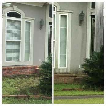 Stucco cleaning before and after